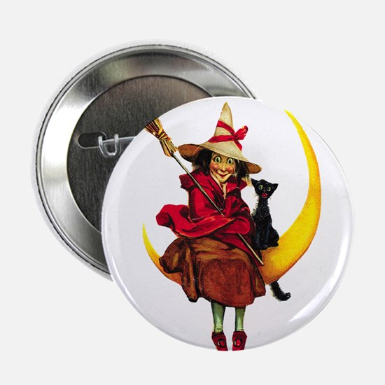 """Witch on Moon 2.25"""" Button"""