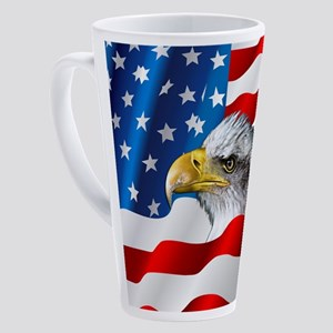 Bald Eagle On American Flag 17 oz Latte Mug