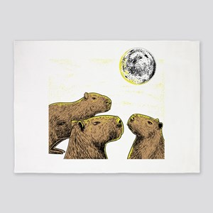 Three moon Capybaras shirt sloth, f 5'x7'Area Rug