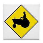 Tractor Crossing Sign - Tile Coaster