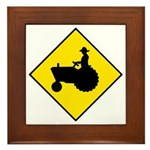 Tractor Crossing Sign - Framed Tile