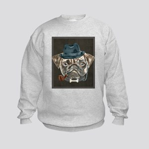 Pug Gangster Hat Monacle Collar Bone Pi Sweatshirt