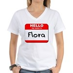 Hello my name is Flora Women's V-Neck T-Shirt