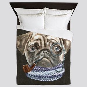 Pug Monacle Scarf Pipe Dogs In Clothes Queen Duvet