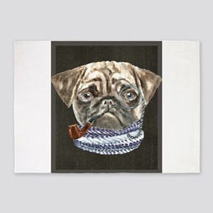 Pug Monacle Scarf Pipe Dogs In Clot 5'x7'Area Rug
