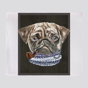 Pug Monacle Scarf Pipe Dogs In Cloth Throw Blanket