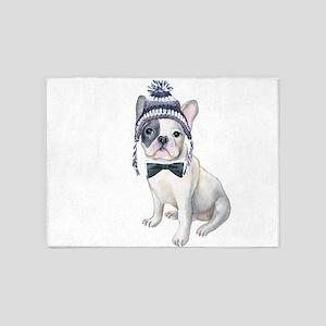 Frenchie French Bulldog Toque Beani 5'x7'Area Rug