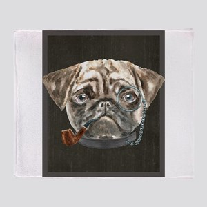 Pug Monacle Pipe Collar Dogs In Clo Throw Blanket