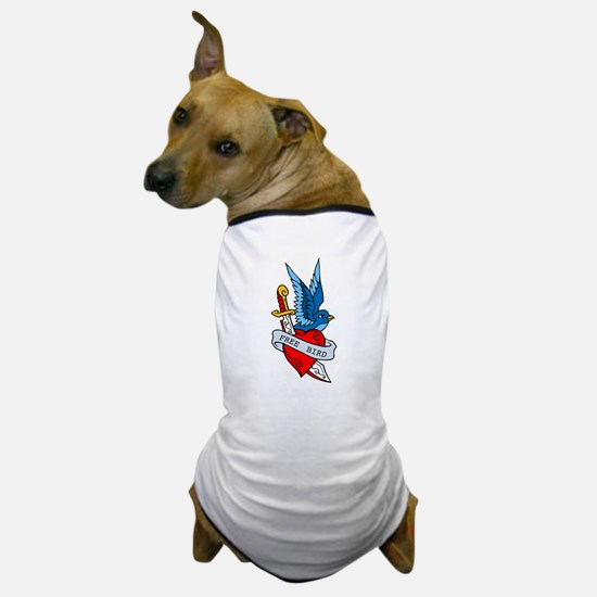 Free Bird Heart Knife Tattoo Dog T-Shirt