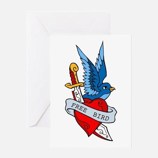 Free Bird Heart Knife Tattoo Greeting Card