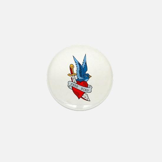 Free Bird Heart Knife Tattoo Mini Button