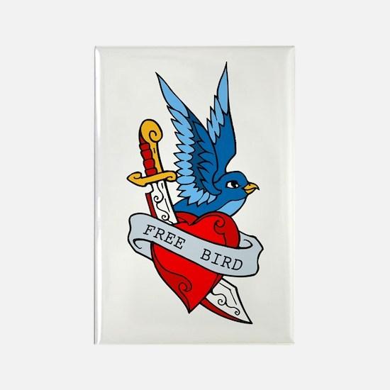 Free Bird Heart Knife Tattoo Rectangle Magnet
