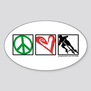 PEACE LOVE CARVE Oval Sticker