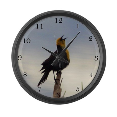 Yellow Headed Black Bird Singing Large Wall Clock