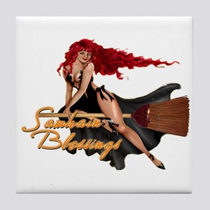 Samhain Blessings Witch Tile Coaster