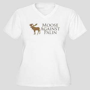 Moose Against Palin Women's Plus Size V-Neck T-Shi