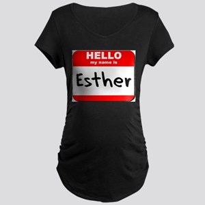 Hello my name is Esther Maternity Dark T-Shirt