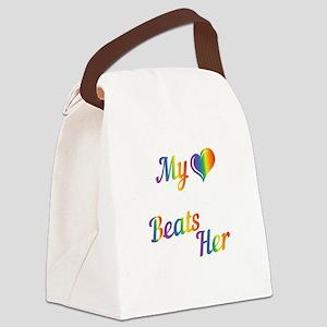 Matching Lesbian Couple Heart onl Canvas Lunch Bag