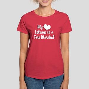 My Heart Belongs to a Fire marshal Women's Dark T-