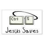 Jesus Saves (Ctrl S) Rectangle Sticker