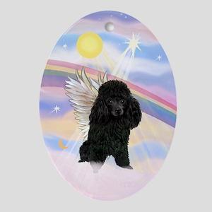 Black Toy Poodle Angel Keepsake (Oval)