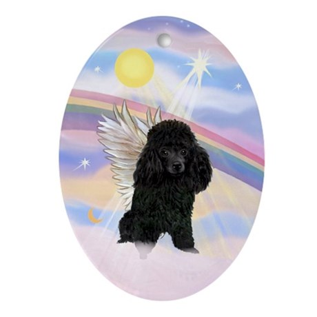 Black Toy Poodle Angel Keepsake (Oval)