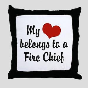 My Heart Belongs to a Fire Chief Throw Pillow