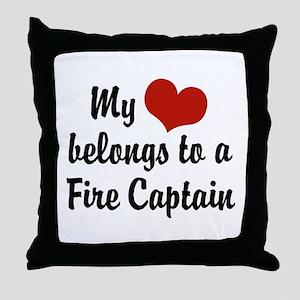 My Heart Belongs to a Fire Captain Throw Pillow