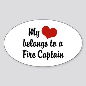 My Heart Belongs to a Fire Captain Oval Sticker