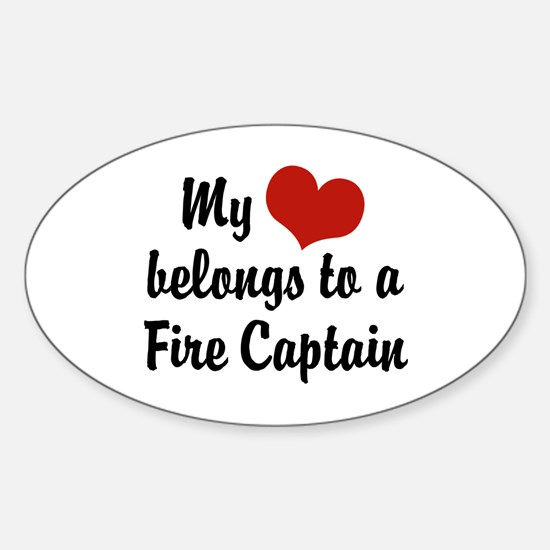 My Heart Belongs to a Fire Captain Oval Decal