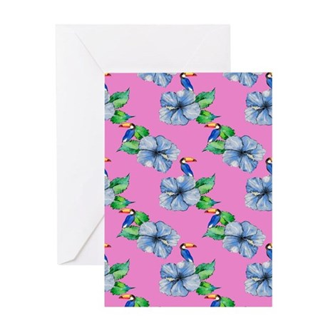Hawaiian Blue Hibiscus, Toucan Greeting Cards