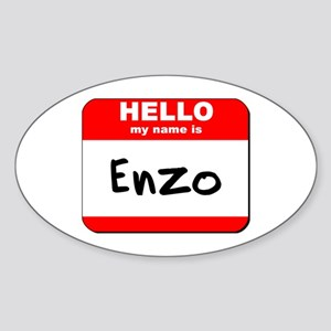 Hello my name is Enzo Oval Sticker