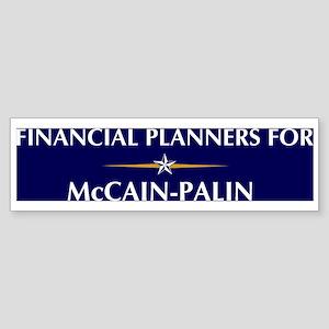 FINANCIAL PLANNERS for McCain Bumper Sticker