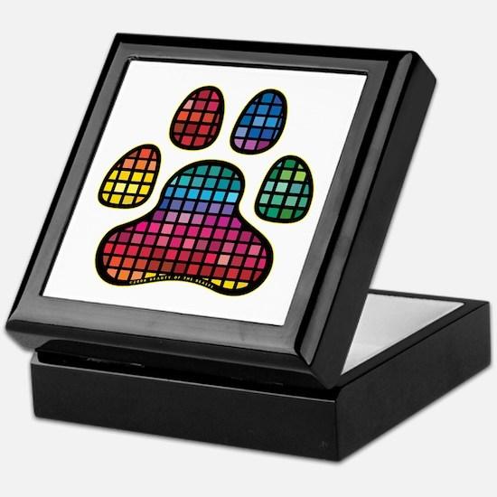 Stained Glass Rainbow Paw Keepsake Box
