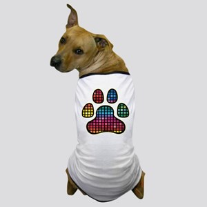 Stained Glass Rainbow Paw Dog T-Shirt