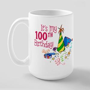 It's My 100th Birthday (Party Hats) Large Mug