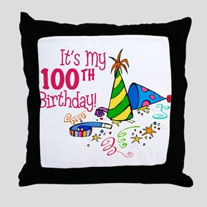 It's My 100th Birthday (Party Hats) Throw Pillow