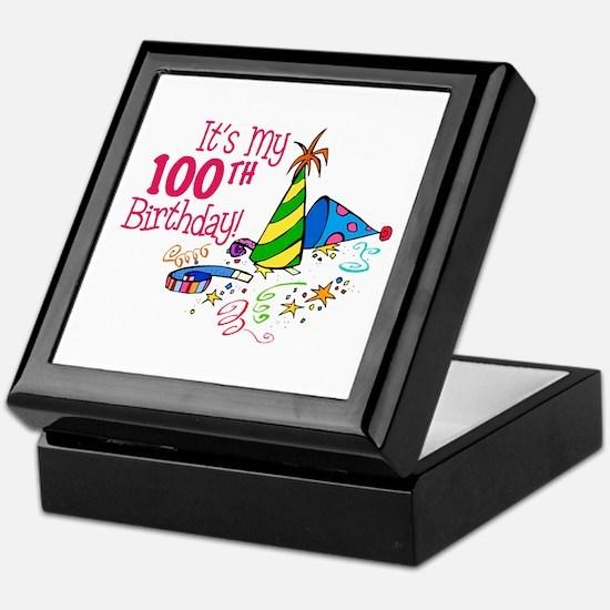 It's My 100th Birthday (Party Hats) Keepsake Box