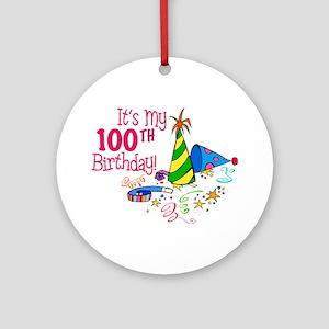 It's My 100th Birthday (Party Hats) Ornament (Roun