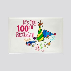 It's My 100th Birthday (Party Hats) Rectangle Magn