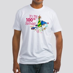 It's My 100th Birthday (Party Hats) Fitted T-Shirt