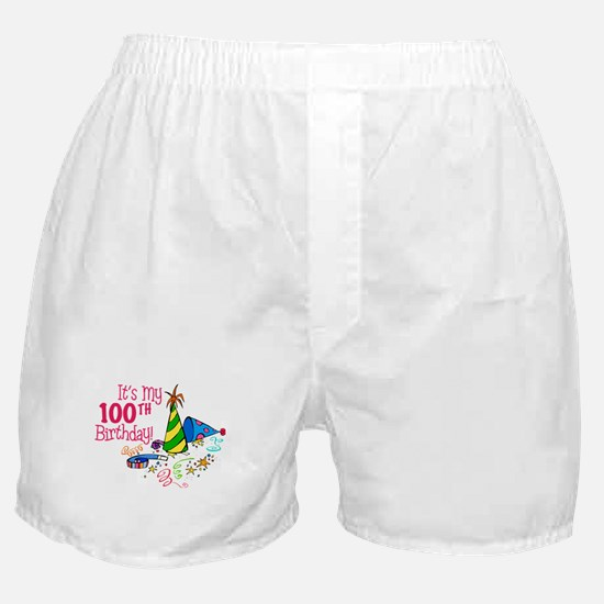 It's My 100th Birthday (Party Hats) Boxer Shorts