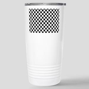 Black White Checkered Stainless Steel Travel Mug