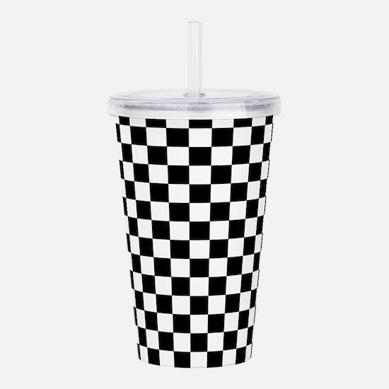 Black White Checkered Acrylic Double-wall Tumbler