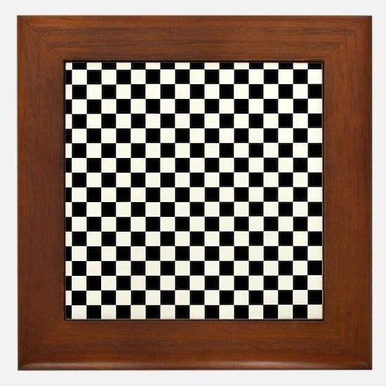 Black White Checkered Framed Tile
