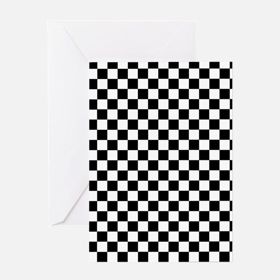 Black White Checkered Greeting Cards