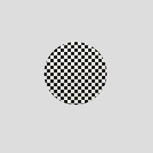 Black White Checkered Mini Button