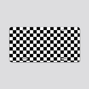 Black White Checkered Aluminum License Plate