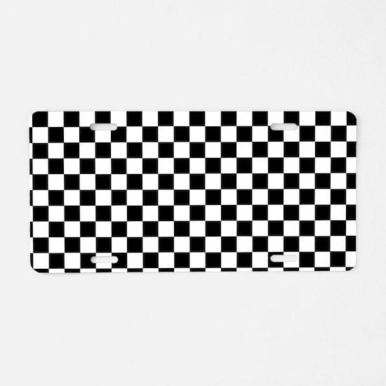 Black White Checkered Aluminum License Plate