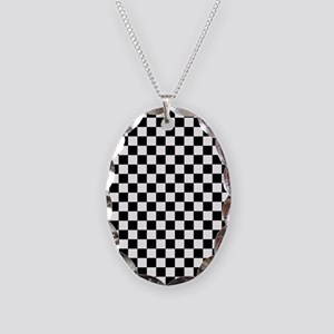 Black White Checkered Necklace Oval Charm